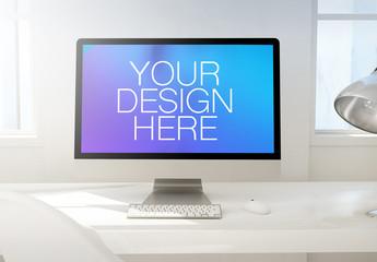 3D Rendering of a Desktop Computer on a White Desk Mockup