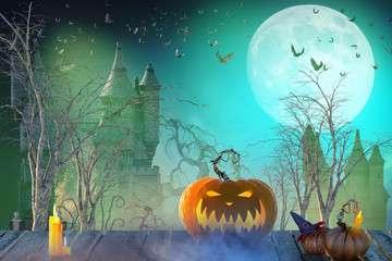 3D Illustration of Halloween background. Spooky pumpkin with moon and dark forest