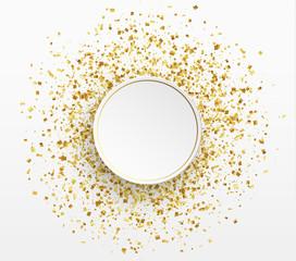 Gold confetti background. Paper white bubble for text