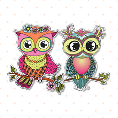Two Cute colorful cartoon owls sitting on tree branch