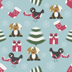 seamless christmas vector illustration with christmas symbols