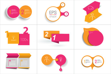 Mega set of Two elements banner. 2 steps design, chart, infographic, step by step number option, layout.