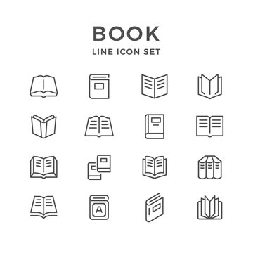 Set line icons of book