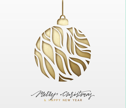 Christmas background, design Xmas golden ball of texture paper
