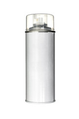 white aerosol can with paint isolated on white
