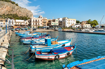 Aluminium Prints Palermo Small port with fishing boats in the center of Mondello, Palermo, Sicily