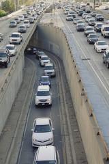 Traffic jam on freeway in Los Angeles