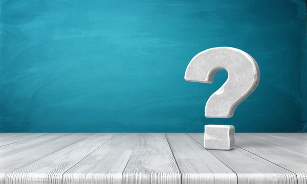 3d rendering of a grey-white question mark made of stone standing on a wooden table on blue background.