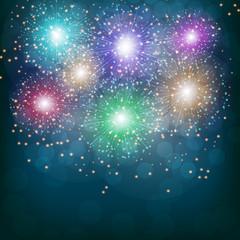 Brightly Colorful Fireworks. Illustration .