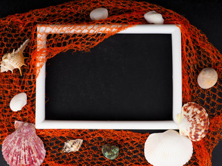 white frame on black with barnacles mesh, blank, concept postcard sea