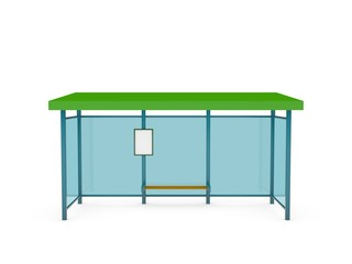 Busstop. Isolated on white background. 3D rendering illustration.