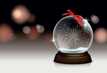 Vector realistic beautiful christmas still life with snowglobe and blurred lights in the background for your greeting card or design