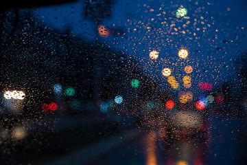 Traffic jams in the rain