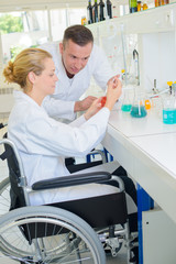 handicapped chemist in lab