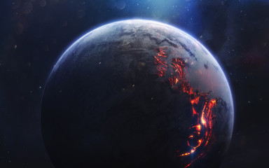 Lava planet. Deep space image, science fiction fantasy in high resolution ideal for wallpaper and...