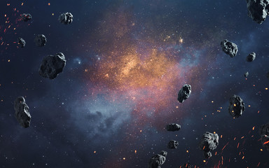 Wall Mural - Abstract cosmic background with asteroids and glowing stars. Deep space image, science fiction fantasy in high resolution ideal for wallpaper and print. Elements of this image furnished by NASA