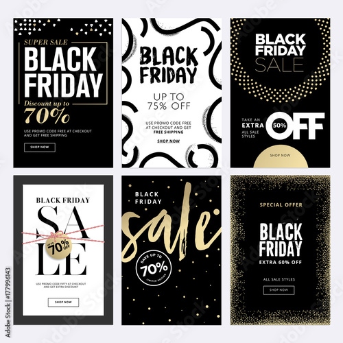 Black friday sale banners set of social media web banners for shopping sale product - Black friday mobel ...