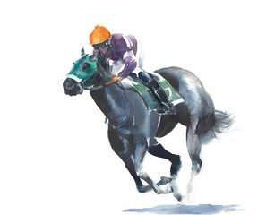 Horse racing jockey competition black horse watercolor painting illustration isolated on white background