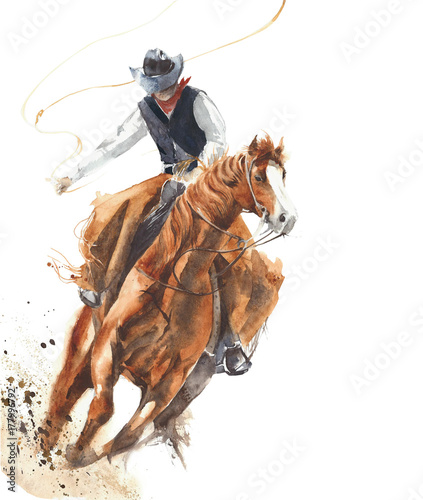 Fototapete Cowboy riding a horse ride calf roping watercolor painting illustration isolated on white background