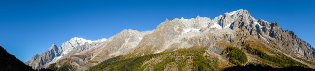 Peaks of the Grandes Jorasses from Val ferret, Aosta Valley, Italy