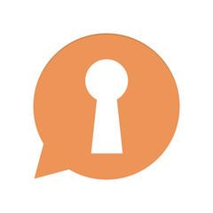 Orangene Sprechblase rund - Schlüsselloch - Datenschutz