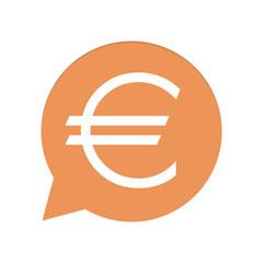 Orangene Sprechblase rund - Euro - Währung