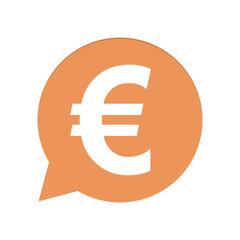 Orangene Sprechblase rund - Euro Zeichen