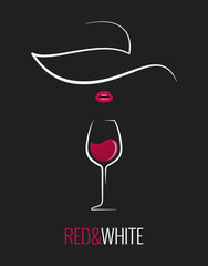 wine glass red and white concept design background