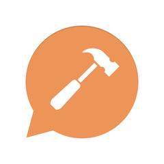 Orangene Sprechblase rund - Hammer - Reparatur