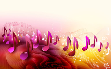 Abstract sheet music design background with 3d musical notes
