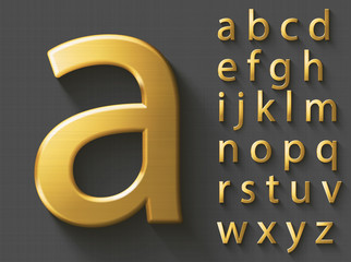 Golden luxury 3D alphabet: lowercase English letters. Metallic font on gray background. Good typeface for wealth and jewel concepts. ABC letters with transparent shadow, EPS 10 vector illustration.
