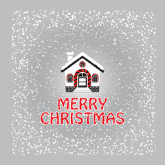 Christmas greeting card with snow-covered house and snowflake.