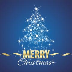 Christmas tree symbol stardust blue background