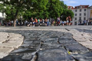Close-up of sidewalk tiles in Lisbon, Portugal
