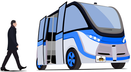Self driving bus blue-grey isolated