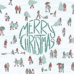 "Hand drawn illustration of tiny pedestrians walking in winter through the city, with big letters saying ""Merry Christmas"""