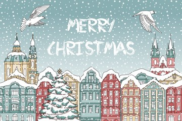 Illustration of colorful houses covered in snow, with cathedral and birds - Christmas card template