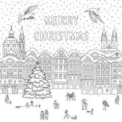 Hand drawn black and white illustration of a city in winter at Christmas time, line art for coloring book pages, greeting card template