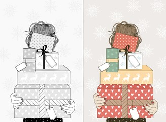 Hand drawn illustration of a young woman holding a variety of boxes with Christmas gifts and empty name tags - in black and white and in color