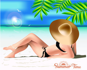Woman with hat sunbathing  beach