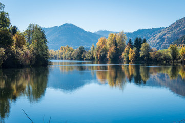 Idyllic view of river Mur on a day in autumn, Styria, Austria