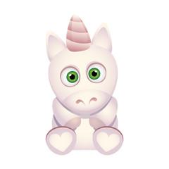 Cute cartoon unicorn. Little colorful horse. Vector character isolated illustration