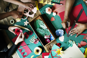 People Making Paper Flowers Craft Art Work Handicraft Wall mural