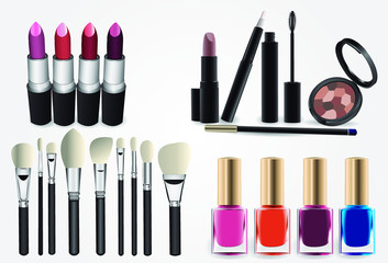 Set of realistic vector and cosmetic professional makeup style. Brush brushes lipstick paints nails