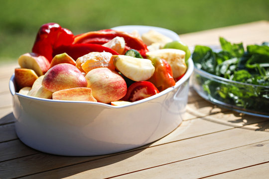 Healthy raw food fruits and vegetables