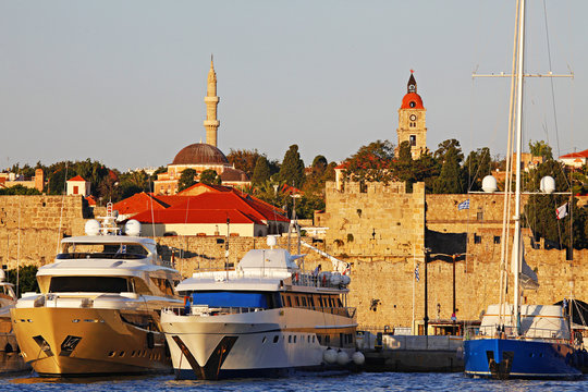 Historic Rhodes Harbour View with Yachts and Multicultural Architecture