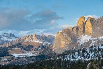 Vivid natural ladnscape of early spring in alpine valley