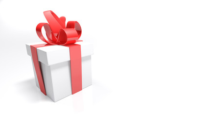 Gift box with red bow on white background - 3D rendering