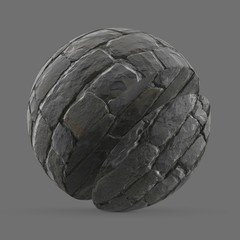 Grey stacked stone wall
