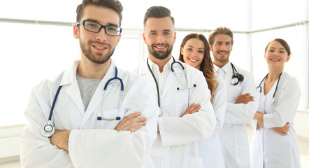 group portrait of leading medical professionals.